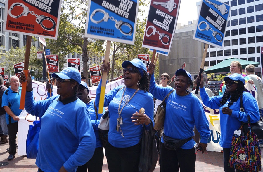 Women from St. Mary's Center in Oakland join the protest in San Francisco against the harassment of homeless people by Union Square BIDs. ©2015 Janny Castillo