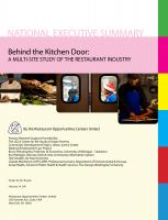 Behind the Kitchen Door: A Multi-Site Study of the Restaurant Industry