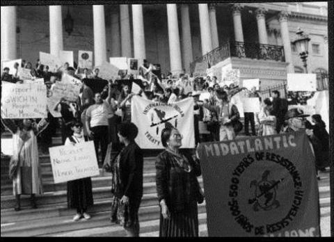 People of Color Summit delegates rally on U.S. Capitol Building steps. © 1991 Robert Bullard