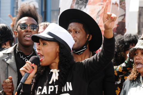 Janelle Monae and members of Wonderland at SF rally for victims of police violence.  © 2016 Eric K. Arnold
